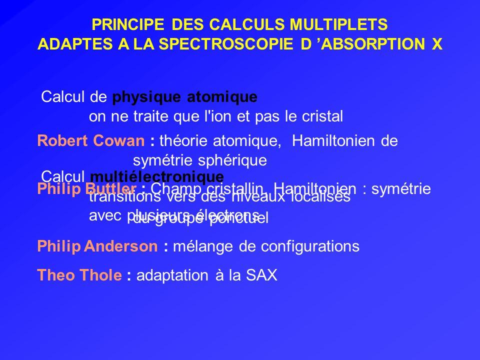 PRINCIPE DES CALCULS MULTIPLETS ADAPTES A LA SPECTROSCOPIE D ABSORPTION X Calcul de physique atomique on ne traite que l'ion et pas le cristal Calcul