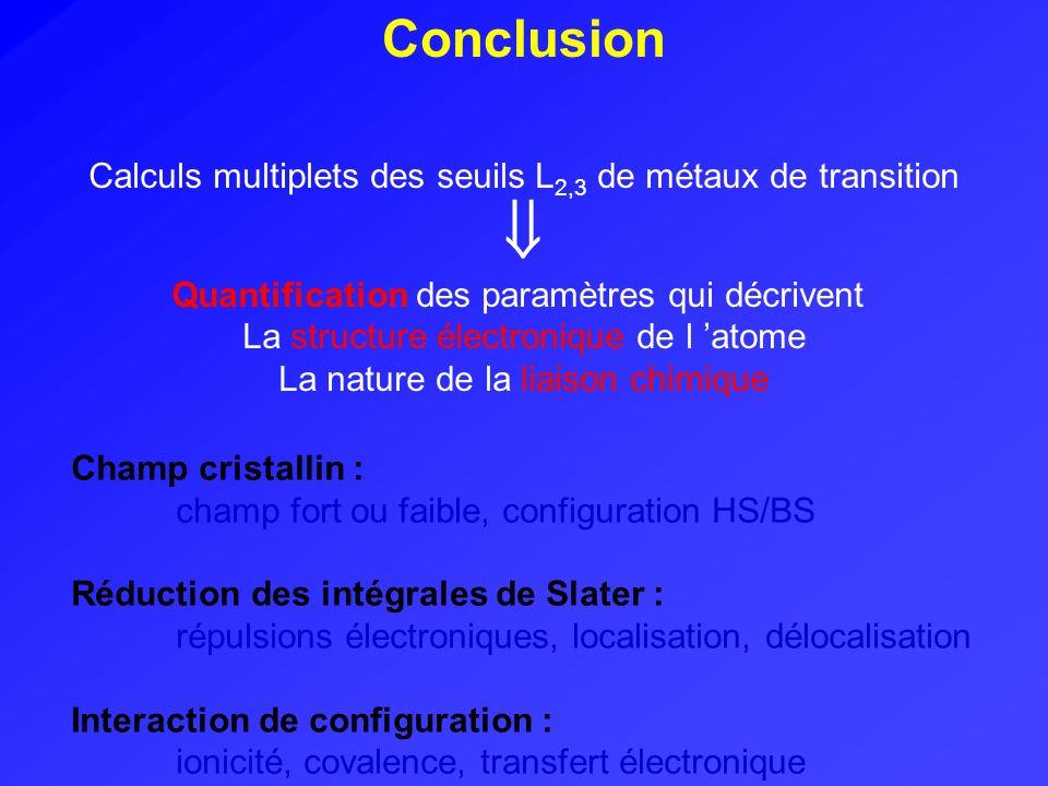Conclusion Calculs multiplets des seuils L 2,3 de métaux de transition Quantification des paramètres qui décrivent La structure électronique de l atom