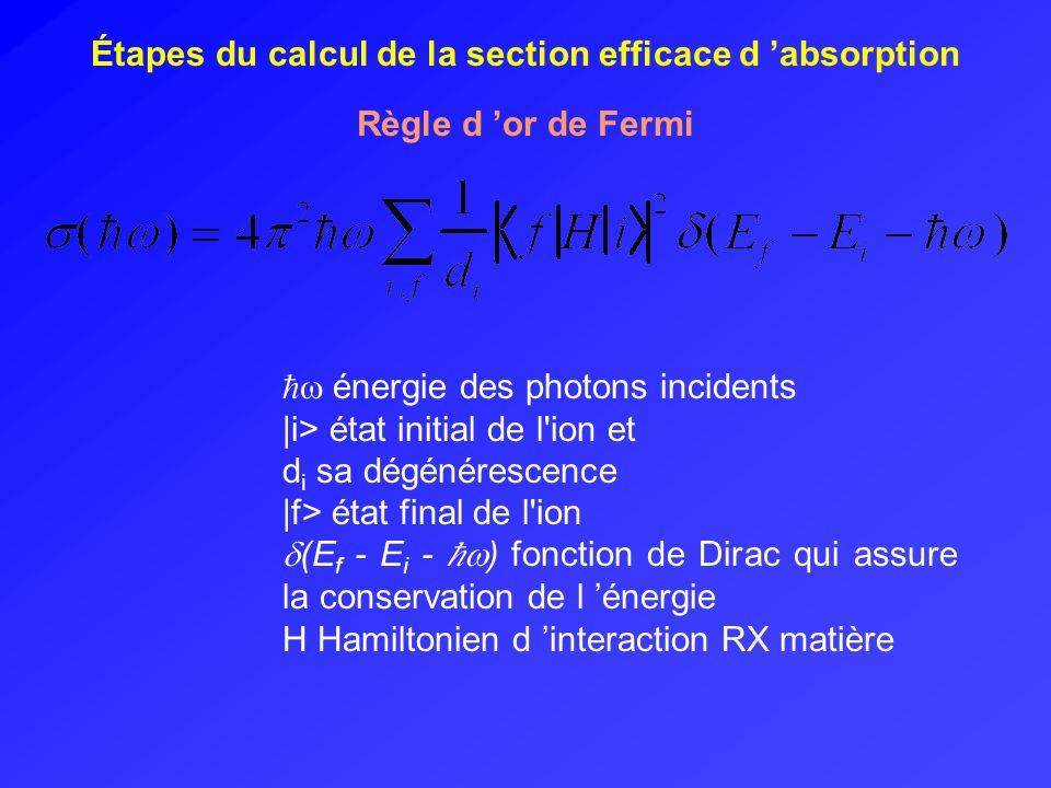 (1) Calcul des fonctions multiélectroniques i et f Résolution de l équation de Schrödinger H ion | > = E | > H ion hamiltonien de lion états propres | i > ou | f > multiplets (termes spectroscopiques) ( 3) Calcul de la section efficace d absorption (2) Calcul des transitions Approximation dipolaire électrique : polarisation du rayonnement r variable d espace