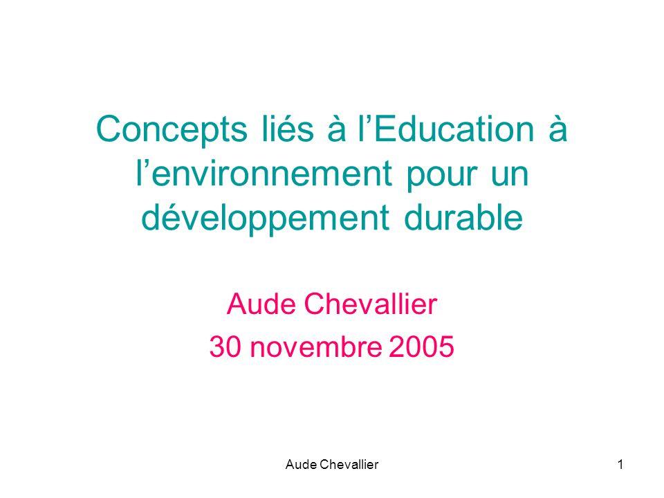Aude Chevallier1 Concepts liés à lEducation à lenvironnement pour un développement durable Aude Chevallier 30 novembre 2005