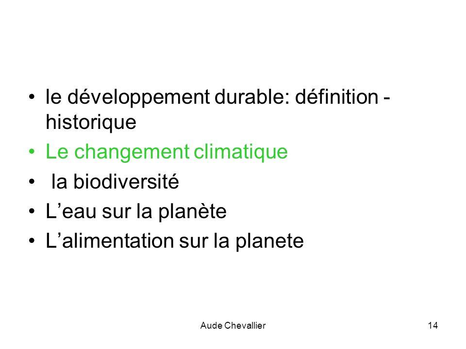 Aude Chevallier14 le développement durable: définition - historique Le changement climatique la biodiversité Leau sur la planète Lalimentation sur la