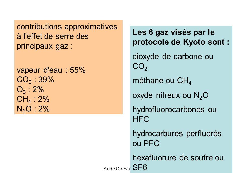 Aude Chevallier21 Les 6 gaz visés par le protocole de Kyoto sont : dioxyde de carbone ou CO 2 méthane ou CH 4 oxyde nitreux ou N 2 O hydrofluorocarbon