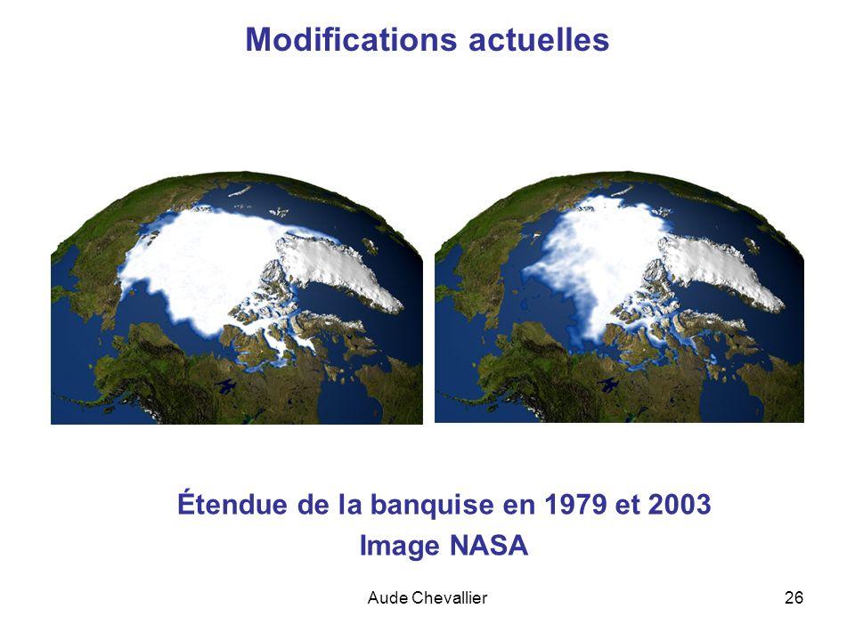 Aude Chevallier26 Modifications actuelles Étendue de la banquise en 1979 et 2003 Image NASA