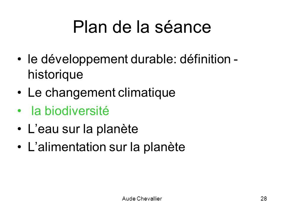Aude Chevallier28 Plan de la séance le développement durable: définition - historique Le changement climatique la biodiversité Leau sur la planète Lal
