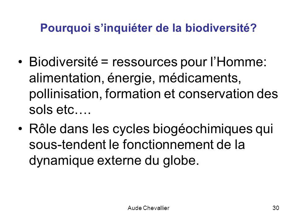 Aude Chevallier30 Pourquoi sinquiéter de la biodiversité? Biodiversité = ressources pour lHomme: alimentation, énergie, médicaments, pollinisation, fo