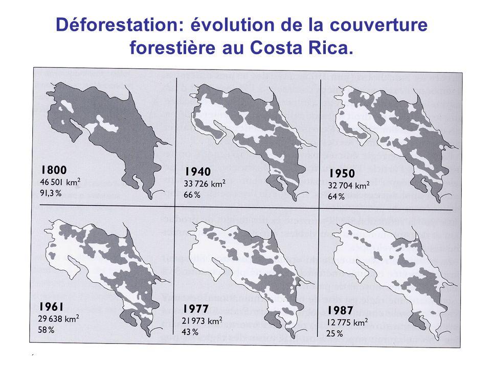 Aude Chevallier37 Déforestation: évolution de la couverture forestière au Costa Rica.