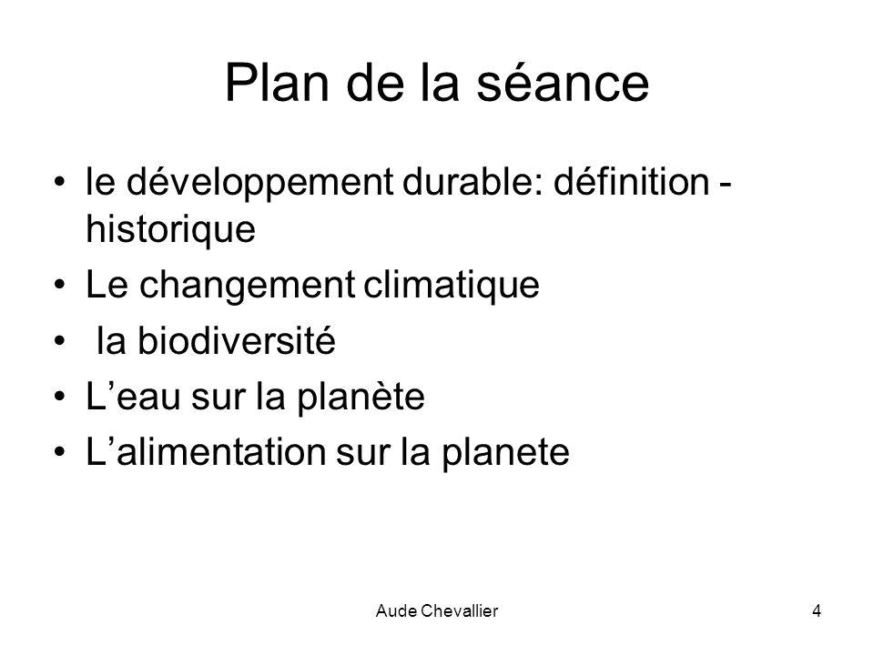 Aude Chevallier5 Plan de la séance le développement durable: définition - historique Le changement climatique la biodiversité Leau sur la planète Lalimentation sur la planète