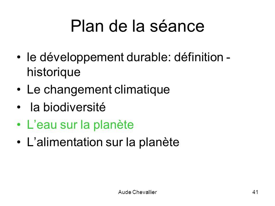 Aude Chevallier41 Plan de la séance le développement durable: définition - historique Le changement climatique la biodiversité Leau sur la planète Lal