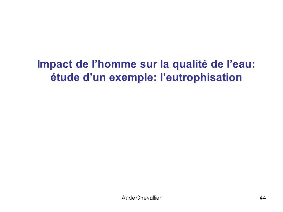 Aude Chevallier44 Impact de lhomme sur la qualité de leau: étude dun exemple: leutrophisation