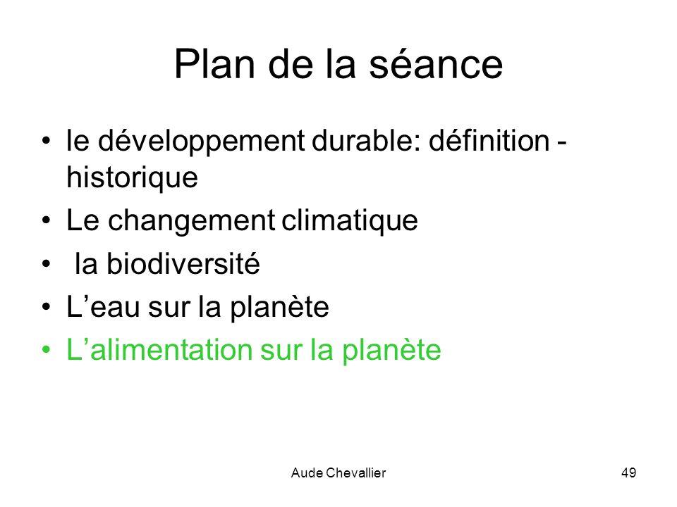 Aude Chevallier49 Plan de la séance le développement durable: définition - historique Le changement climatique la biodiversité Leau sur la planète Lal