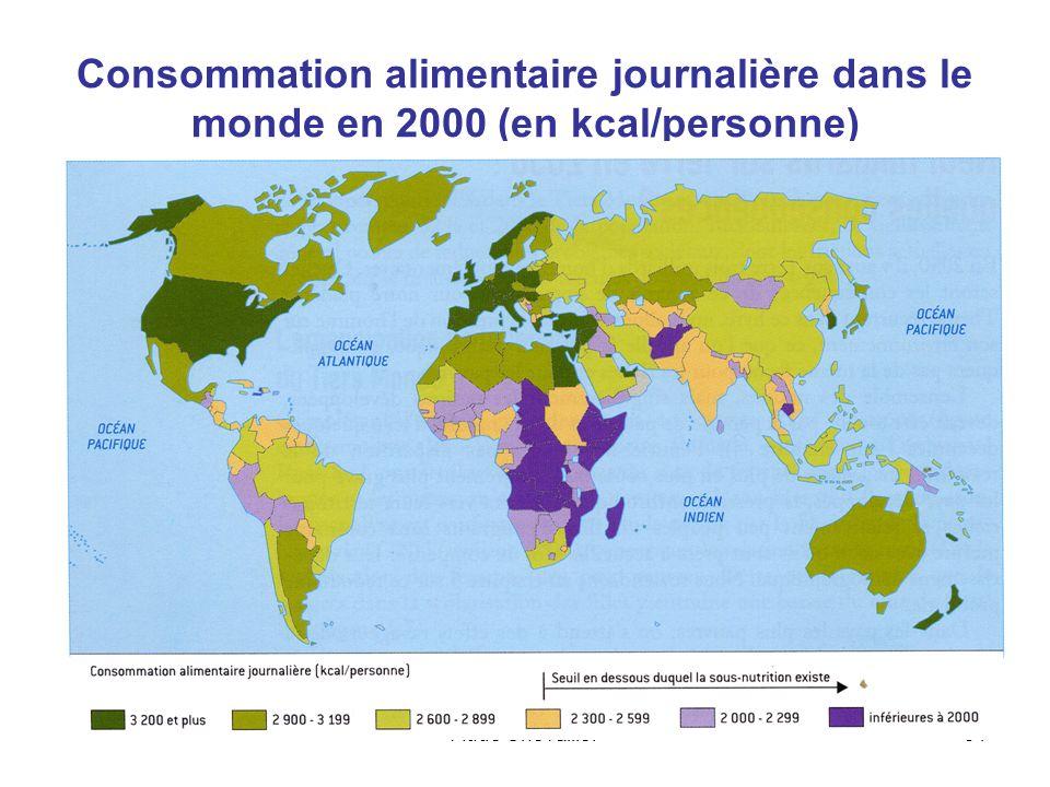 Aude Chevallier51 Consommation alimentaire journalière dans le monde en 2000 (en kcal/personne)