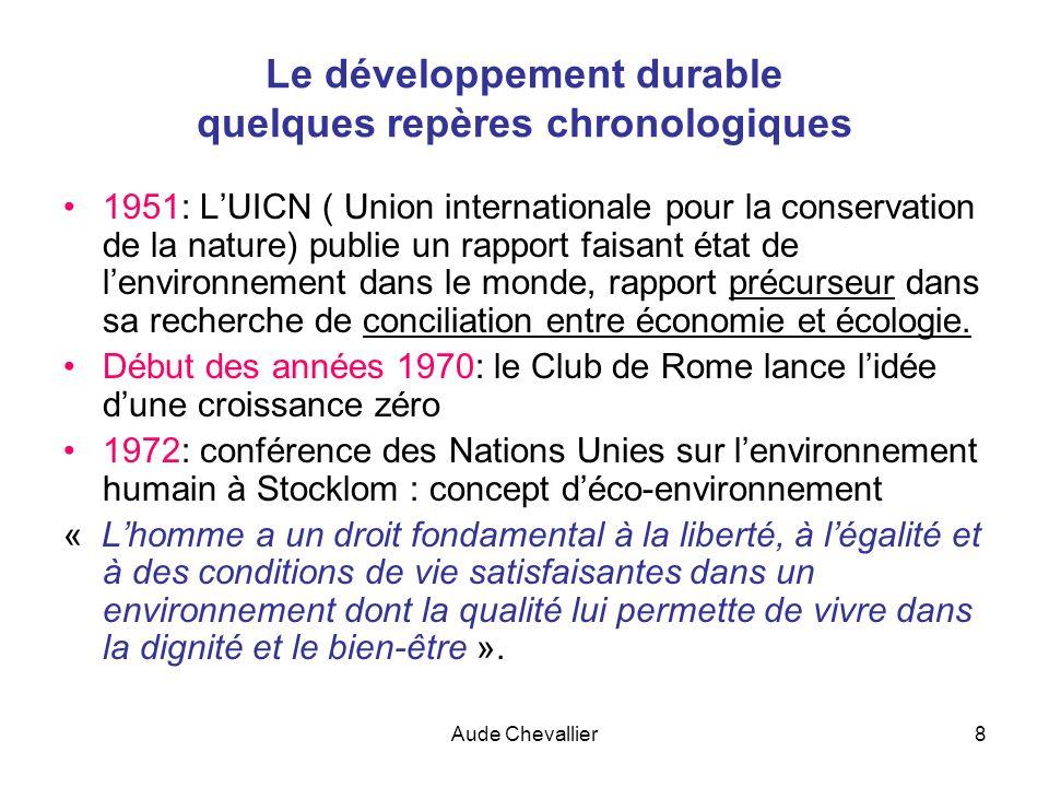 Aude Chevallier8 Le développement durable quelques repères chronologiques 1951: LUICN ( Union internationale pour la conservation de la nature) publie