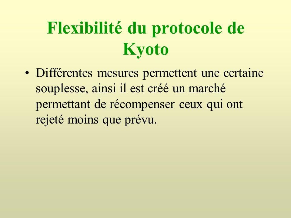 Flexibilité du protocole de Kyoto Différentes mesures permettent une certaine souplesse, ainsi il est créé un marché permettant de récompenser ceux qu