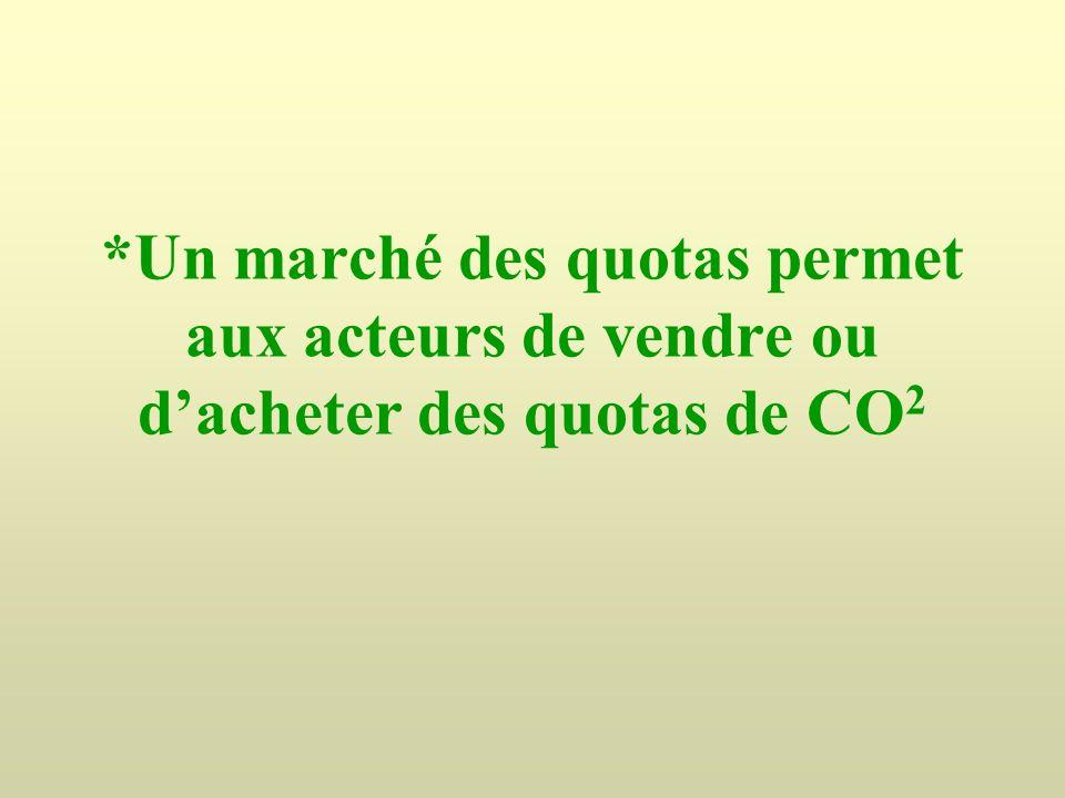*Un marché des quotas permet aux acteurs de vendre ou dacheter des quotas de CO 2