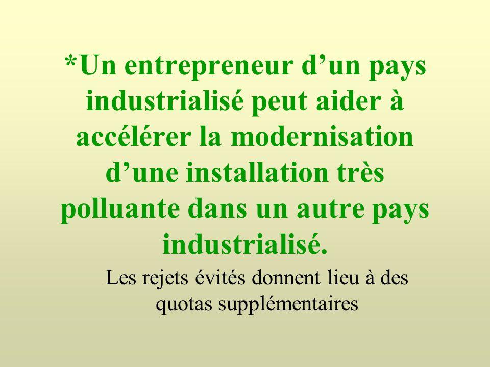 *Un entrepreneur dun pays industrialisé peut aider à accélérer la modernisation dune installation très polluante dans un autre pays industrialisé. Les