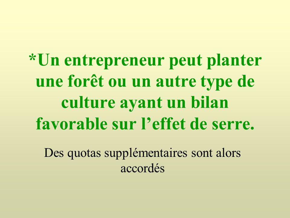 *Un entrepreneur peut planter une forêt ou un autre type de culture ayant un bilan favorable sur leffet de serre. Des quotas supplémentaires sont alor