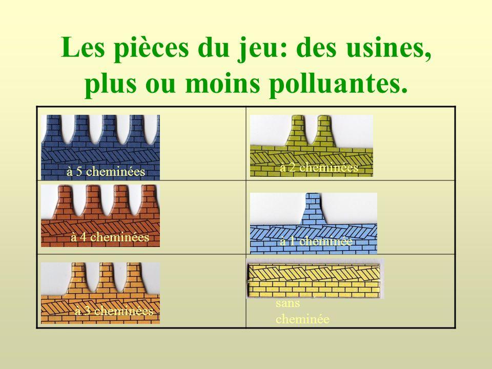 Les pièces du jeu: des usines, plus ou moins polluantes. à 5 cheminées à 4 cheminées à 3 cheminées à 2 cheminées à 1 cheminée sans cheminée