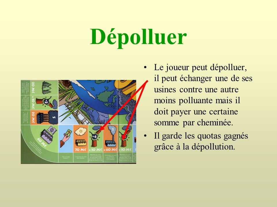 Dépolluer Le joueur peut dépolluer, il peut échanger une de ses usines contre une autre moins polluante mais il doit payer une certaine somme par chem
