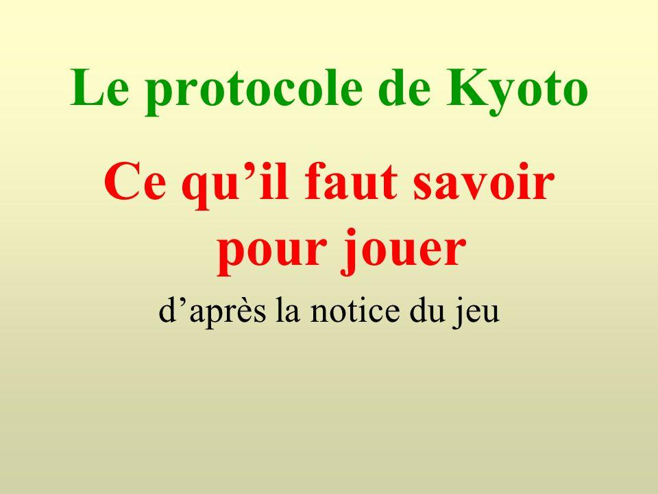 Le protocole de Kyoto Ce quil faut savoir pour jouer daprès la notice du jeu