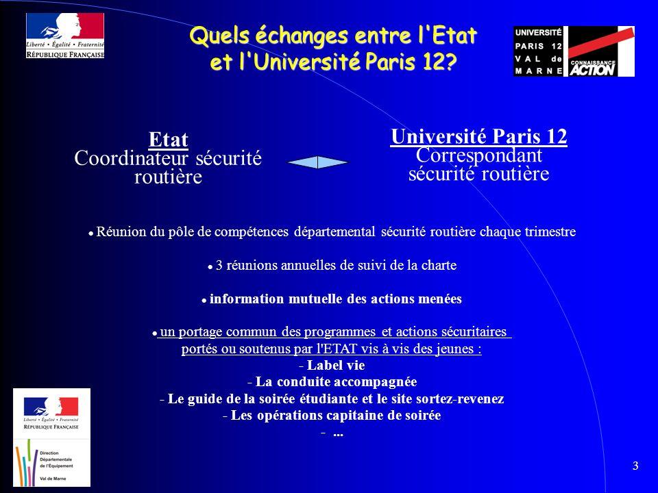 3 Quels échanges entre l'Etat et l'Université Paris 12? Réunion du pôle de compétences départemental sécurité routière chaque trimestre 3 réunions ann