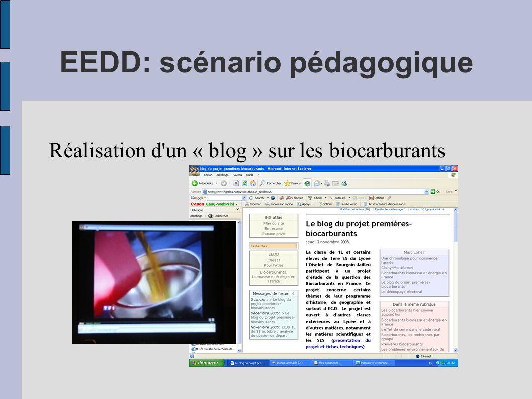 EEDD: scénario pédagogique Réalisation d'un « blog » sur les biocarburants