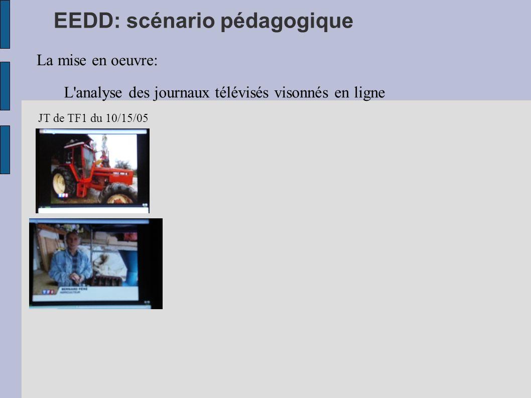 EEDD: scénario pédagogique La mise en oeuvre: L'analyse des journaux télévisés visonnés en ligne JT de TF1 du 10/15/05