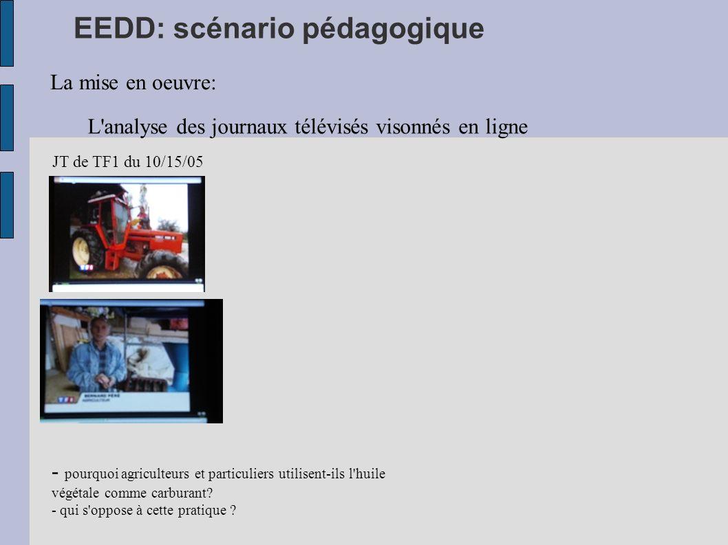 EEDD: scénario pédagogique La mise en oeuvre: L'analyse des journaux télévisés visonnés en ligne JT de TF1 du 10/15/05 - pourquoi agriculteurs et part