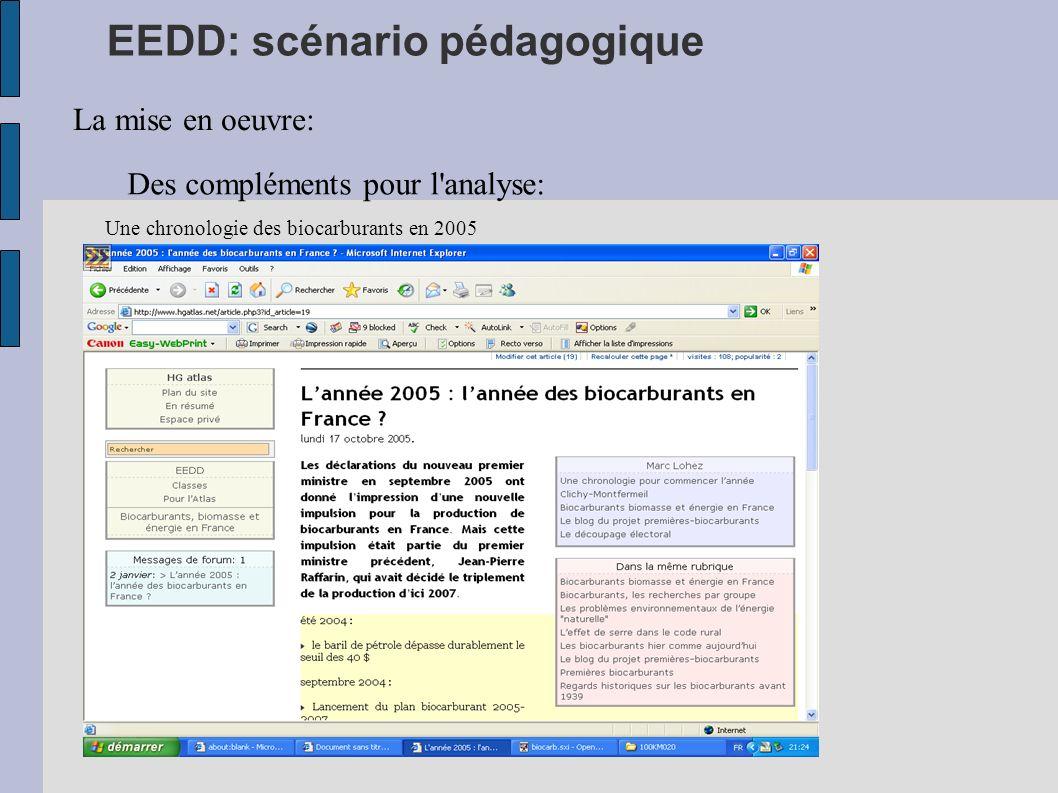 EEDD: scénario pédagogique La mise en oeuvre: Des compléments pour l'analyse: Une chronologie des biocarburants en 2005