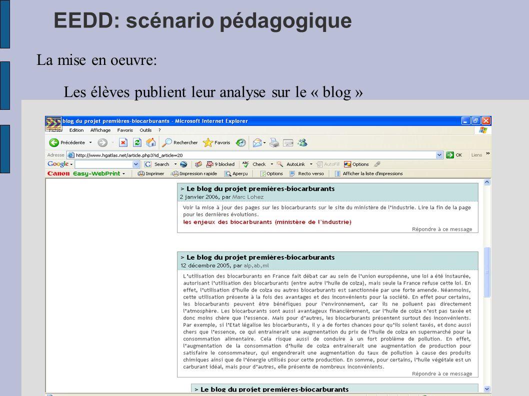 EEDD: scénario pédagogique La mise en oeuvre: Les élèves publient leur analyse sur le « blog »