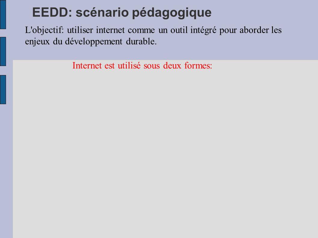 EEDD: scénario pédagogique L'objectif: utiliser internet comme un outil intégré pour aborder les enjeux du développement durable. Internet est utilisé