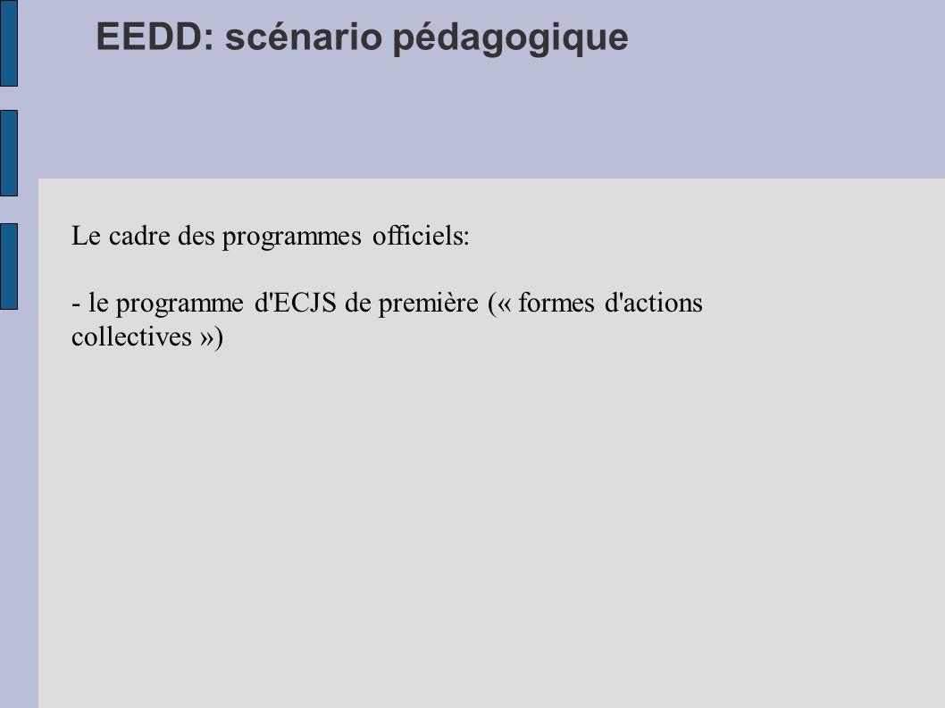 EEDD: scénario pédagogique Le cadre des programmes officiels: - le programme d'ECJS de première (« formes d'actions collectives »)