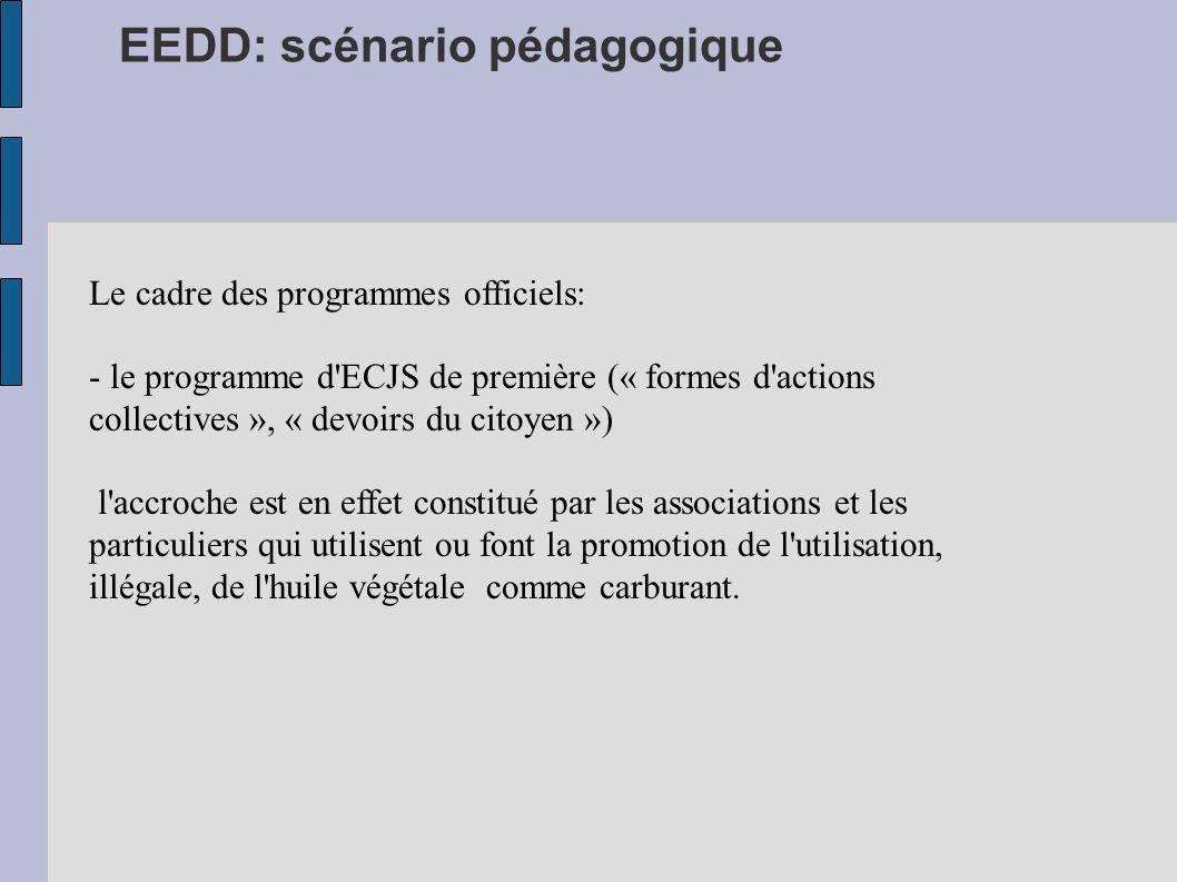 EEDD: scénario pédagogique Le cadre des programmes officiels: - le programme d'ECJS de première (« formes d'actions collectives », « devoirs du citoye