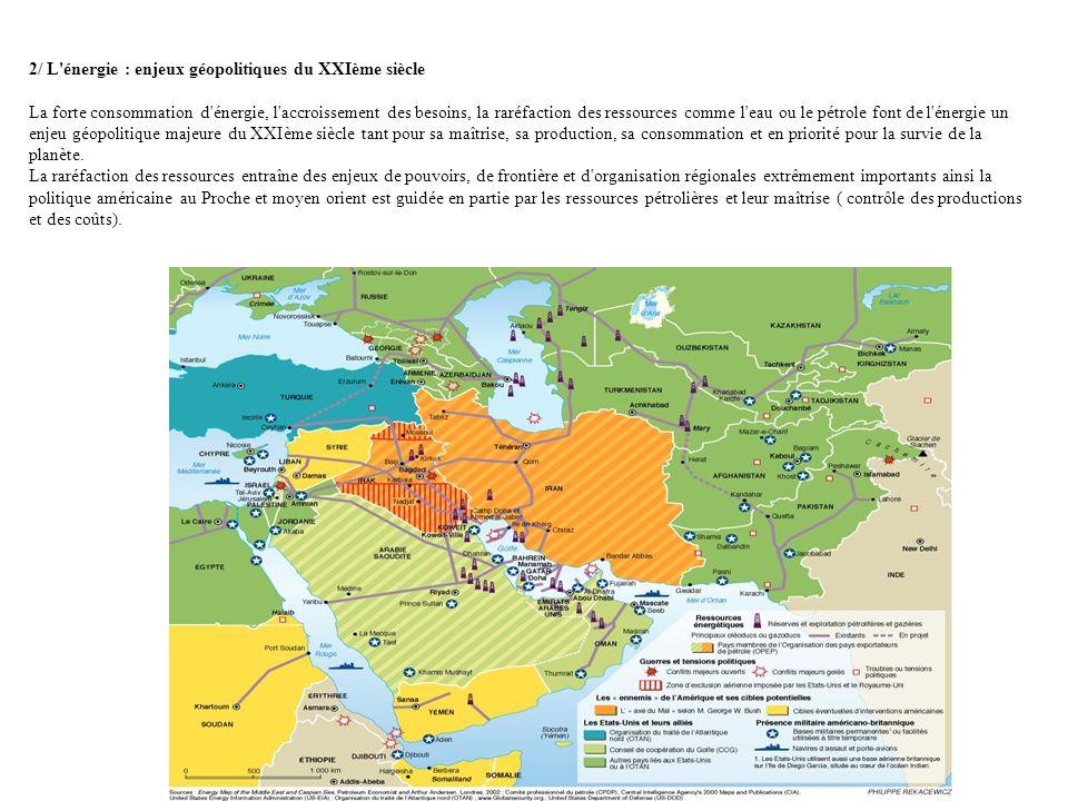2/ L'énergie : enjeux géopolitiques du XXIème siècle La forte consommation d'énergie, l'accroissement des besoins, la raréfaction des ressources comme