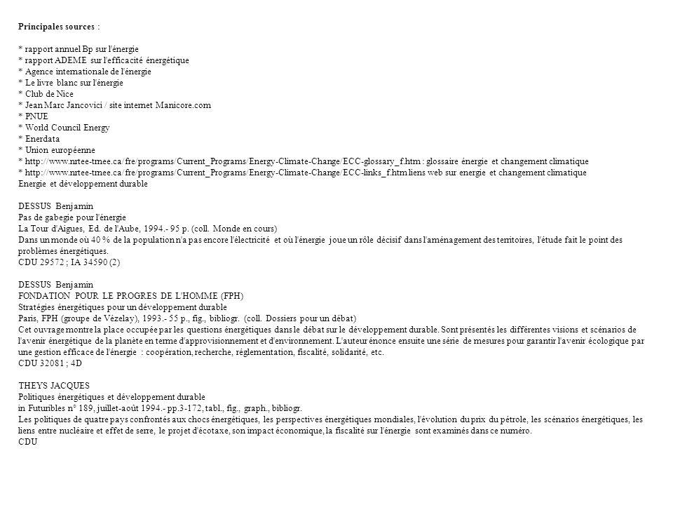 Principales sources : * rapport annuel Bp sur l'énergie * rapport ADEME sur l'efficacité énergétique * Agence internationale de l'énergie * Le livre b