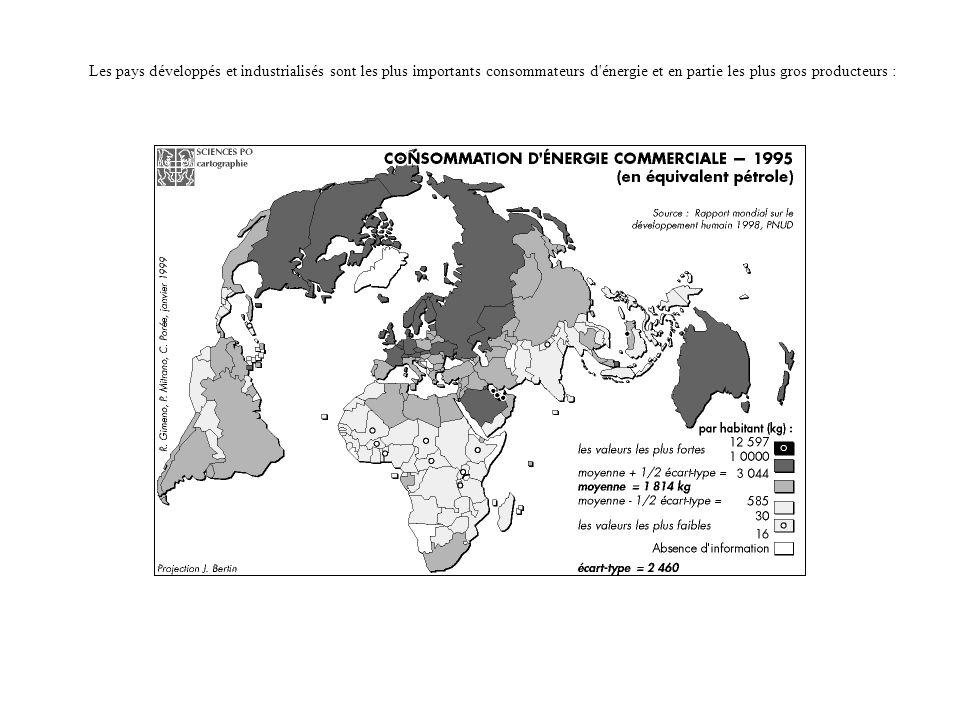 Les pays développés et industrialisés sont les plus importants consommateurs d'énergie et en partie les plus gros producteurs :