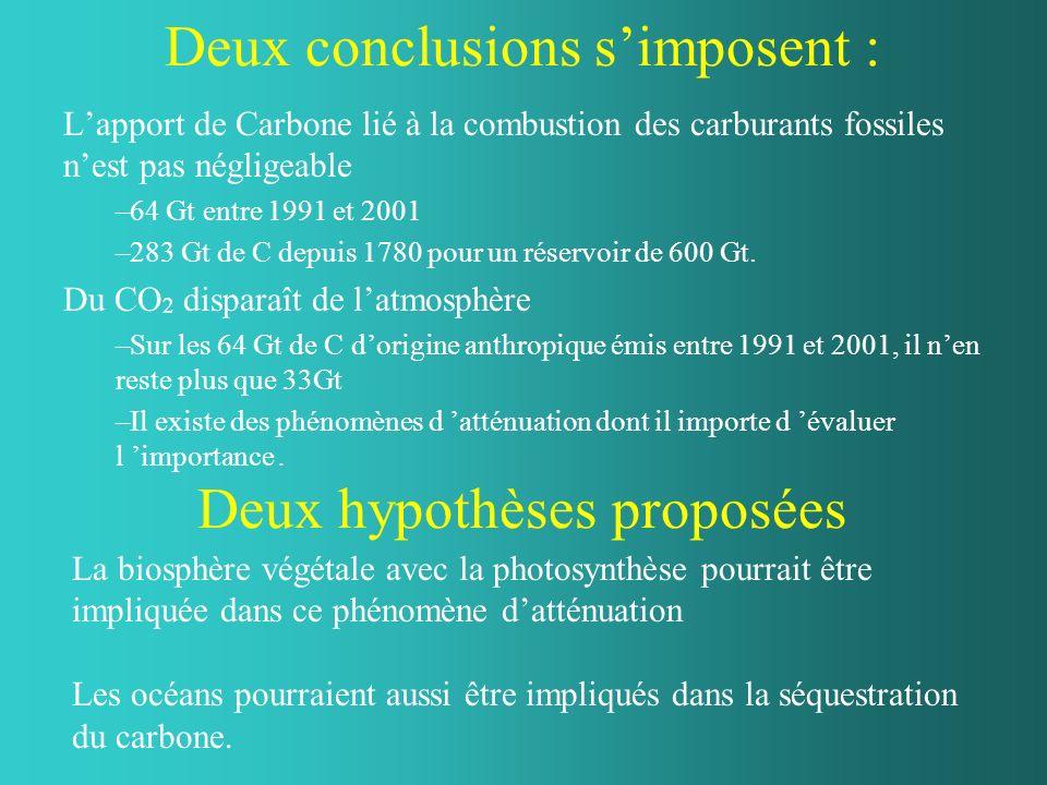 Deux conclusions simposent : Lapport de Carbone lié à la combustion des carburants fossiles nest pas négligeable –64 Gt entre 1991 et 2001 –283 Gt de