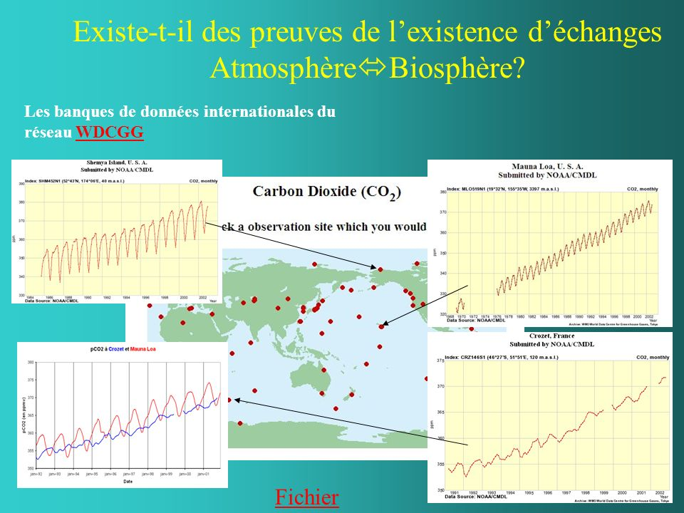 Existe-t-il des preuves de lexistence déchanges Atmosphère Biosphère? Les banques de données internationales du réseau WDCGGWDCGG Fichier