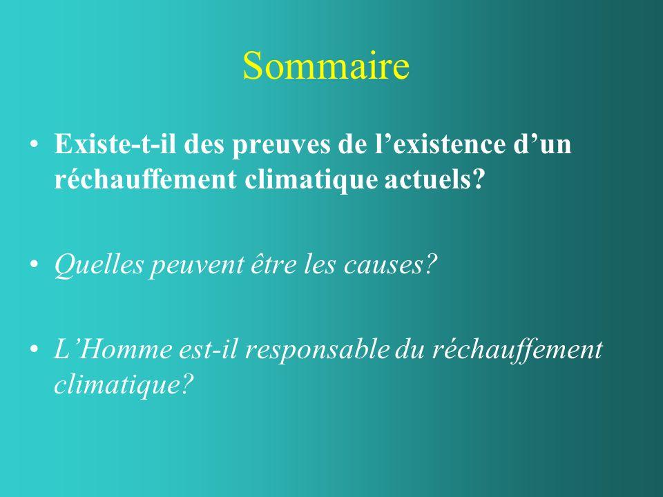 Sommaire Existe-t-il des preuves de lexistence dun réchauffement climatique actuels? Quelles peuvent être les causes? LHomme est-il responsable du réc