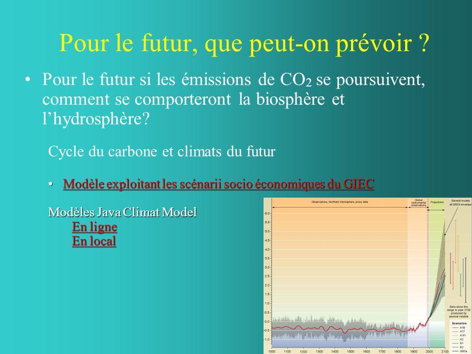 Pour le futur, que peut-on prévoir ? Pour le futur si les émissions de CO 2 se poursuivent, comment se comporteront la biosphère et lhydrosphère? Cycl