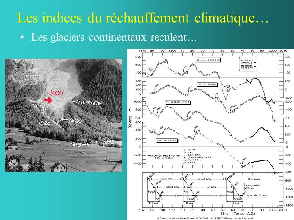 Les indices du réchauffement climatique… Les glaciers continentaux reculent…