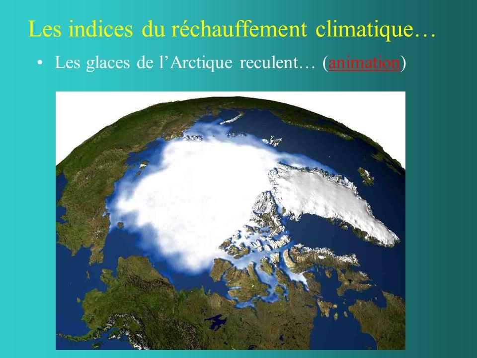 Les indices du réchauffement climatique… Les glaces de lArctique reculent… (animation)animation