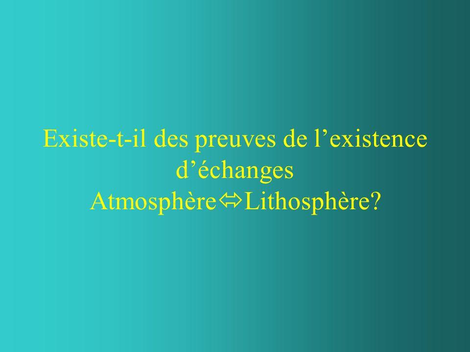 Existe-t-il des preuves de lexistence déchanges Atmosphère Lithosphère