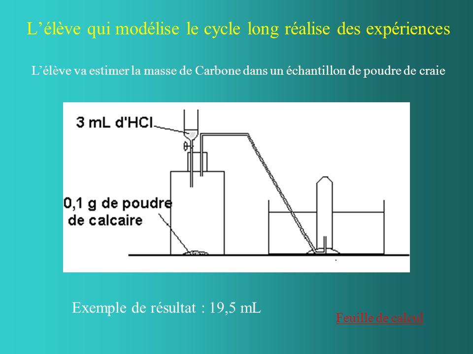 Lélève qui modélise le cycle long réalise des expériences Exemple de résultat : 19,5 mL Feuille de calcul Lélève va estimer la masse de Carbone dans un échantillon de poudre de craie