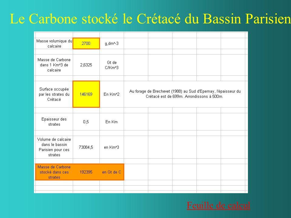Le Carbone stocké le Crétacé du Bassin Parisien Feuille de calcul