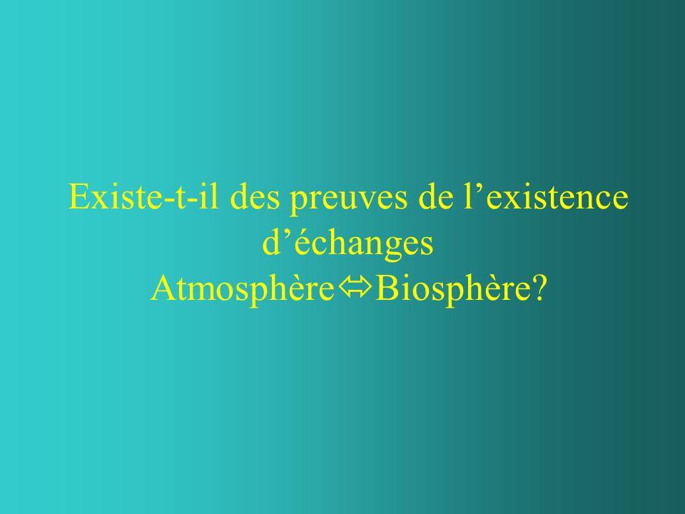 Existe-t-il des preuves de lexistence déchanges Atmosphère Biosphère