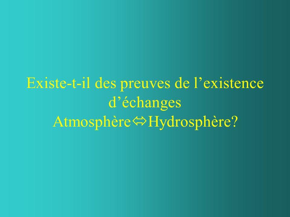 Existe-t-il des preuves de lexistence déchanges Atmosphère Hydrosphère