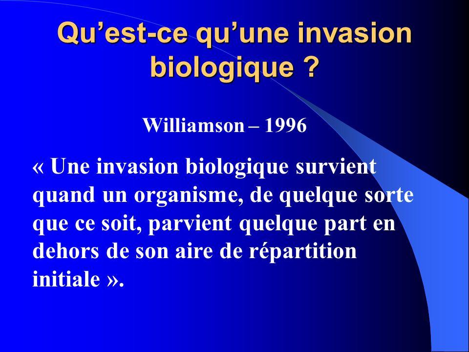 Quest-ce quune invasion biologique ? Williamson – 1996 « Une invasion biologique survient quand un organisme, de quelque sorte que ce soit, parvient q