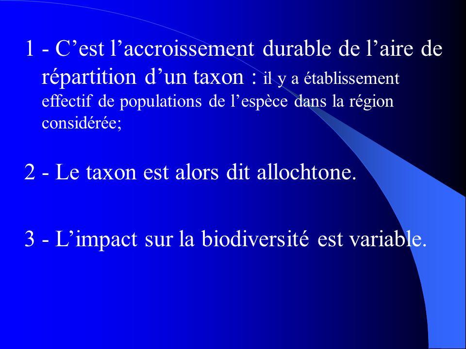 1 - Cest laccroissement durable de laire de répartition dun taxon : il y a établissement effectif de populations de lespèce dans la région considérée;