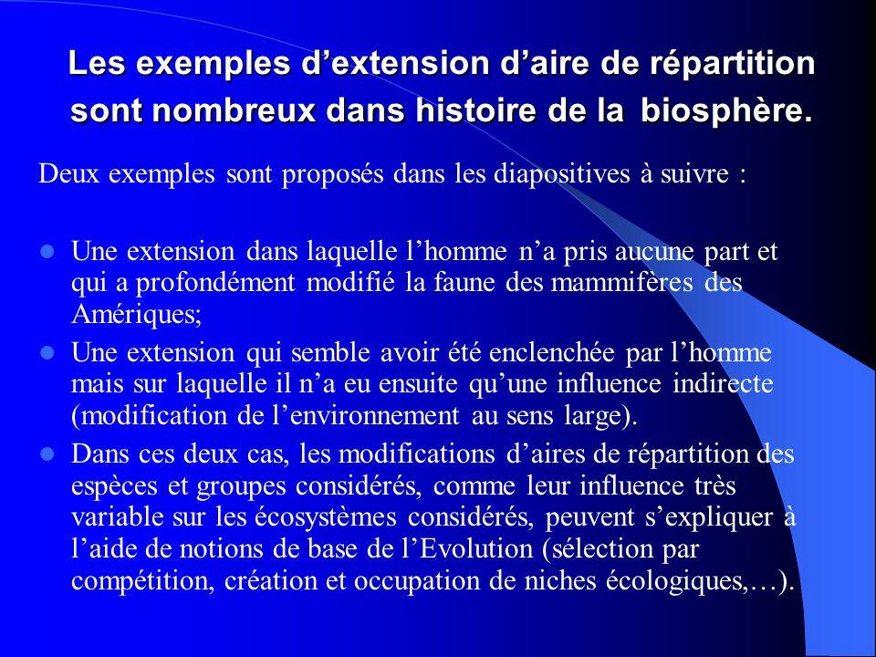 Les exemples dextension daire de répartition sont nombreux dans histoire de la biosphère. Deux exemples sont proposés dans les diapositives à suivre :