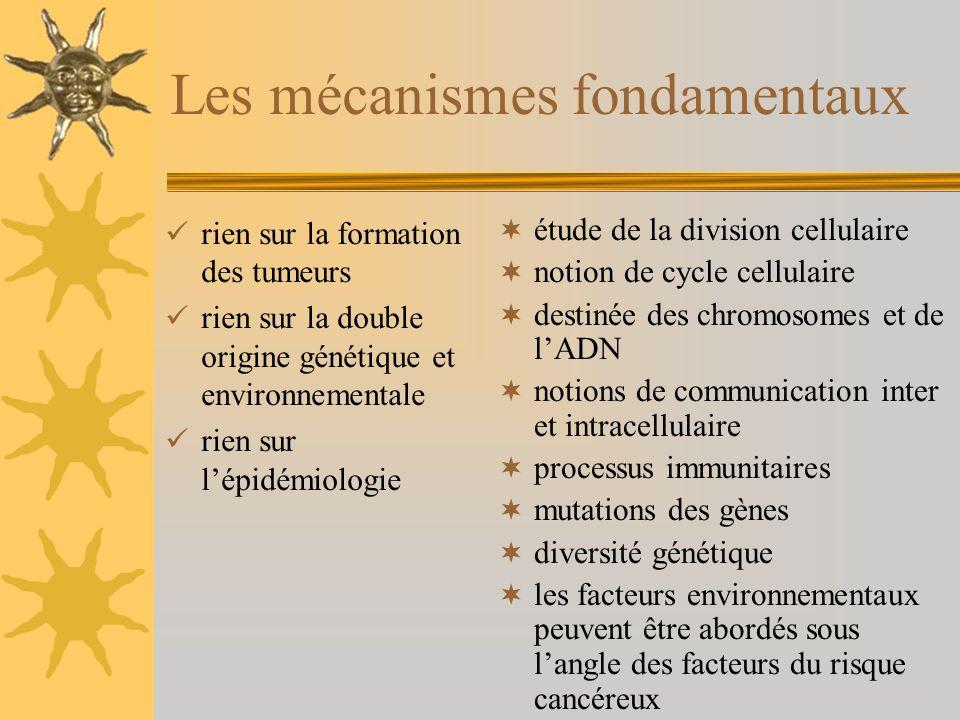 Les mécanismes fondamentaux rien sur la formation des tumeurs rien sur la double origine génétique et environnementale rien sur lépidémiologie étude de la division cellulaire notion de cycle cellulaire destinée des chromosomes et de lADN notions de communication inter et intracellulaire processus immunitaires mutations des gènes diversité génétique les facteurs environnementaux peuvent être abordés sous langle des facteurs du risque cancéreux